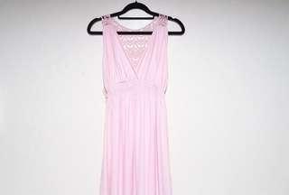 Korean Blush Pink Lace Maxi Dress
