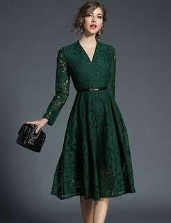 Long-Sleeve: Green British V-Neck Lace Long Dress (M / L / XL / 2XL) - OA/MKD111030