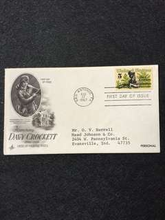 US 1967 Davy Crockett FDC stamp