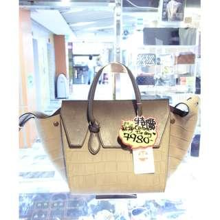 Celine Gray Leather Classic Tie Bag Shoulder Handbag Hand Bag 塞利 灰色 牛皮 皮革 鱷魚皮壓紋 經典款 手挽袋 手袋 肩袋 袋