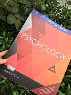 3rd Edition: PSYCHOLOGY (Philippine edition) by: Spencer A. Rathus