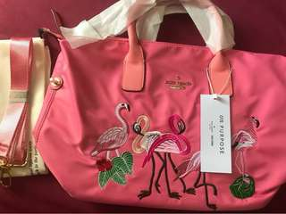 Authentic Overruns Kate Spade Two-way sling nylon pink bag with flamingos