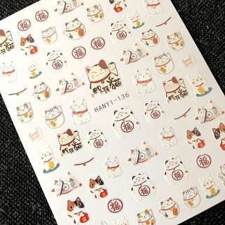 Newest  SOLONAIL designs 3d nail art  sticker decal Little lucky  cats nail art decal tools