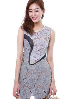 MDS collections lilac floral lace dress