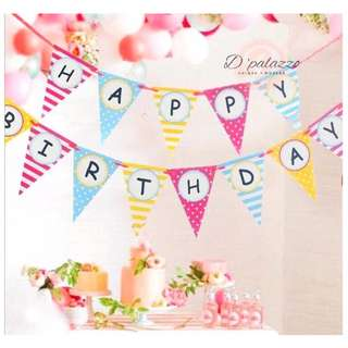 Happy Birthday Flag Triangle Colourful Bunting Banner Flag for Birthday Party Decoration