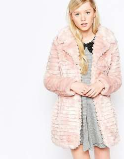 Pink faux fur coat - Size 16 - Brand new