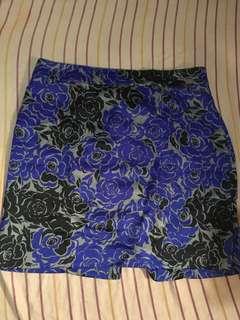 Over Run Oriental Royal Blue Skirt