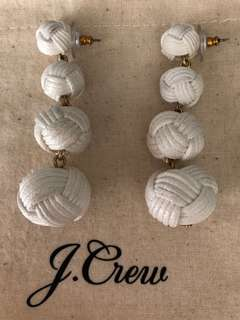 J Crew Knotted Drop Earrings - White