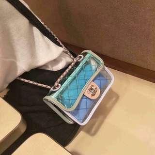 CHANEL see-thru plastic shoulder bag