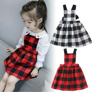 *FREE DELIVERY to WM only / Pre order 14 days* Kids casual plaid dress each as shown design/color. Free delivery is applied for this item.