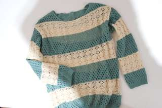 Green Cream Knitted Sweater