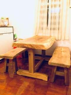 Custom Made Camphor Wood Table and Bench