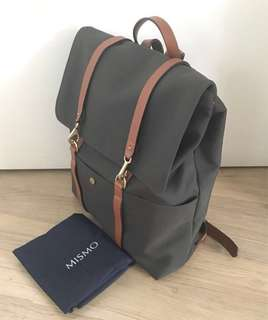 Mismo military green canvas leather backpack