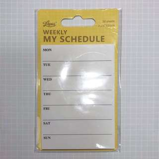 My Weekly Schedule Sticky Memo