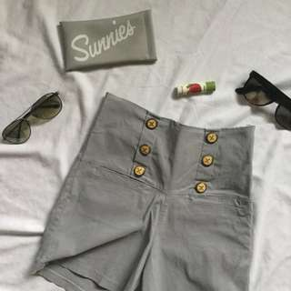 Gray High Waist Shorts