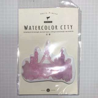 Watercolor City Sticky Memo
