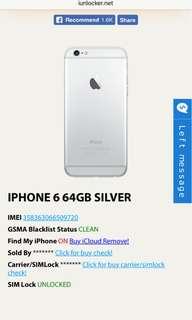 iPhone 6 64GB Silver FU