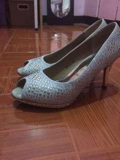 Silver Heels, Formal Heels, Open toe heels , pump heels