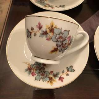 Vintage floral tea cup with matching saucer