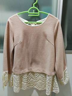 Women lace bow fake mix fabric long sleeves top
