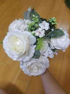 絲花花材 diy手捧花 結婚婚禮 pre wedding wedding 白色 白色玫瑰絲花花材一扎 white colour rose flower bouquet