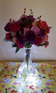 Artificial Flower with Vase and 1m LED Fairy Lights (White)