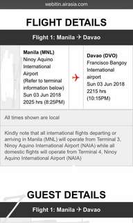 RUSH SALE PLANE TICKET MNL TO DVO JUNE 3 2018