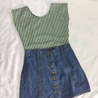 Green & white houndstooth top