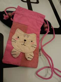 可愛貓貓手機布袋一個 (斜咩) 桃紅色