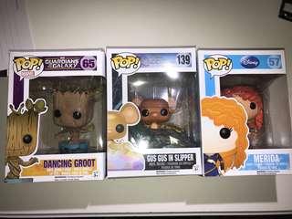 Pop! Vinyl Dancing Groot, Gus Gus in Slipper, Merida
