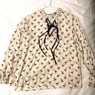 Duck printing blouse