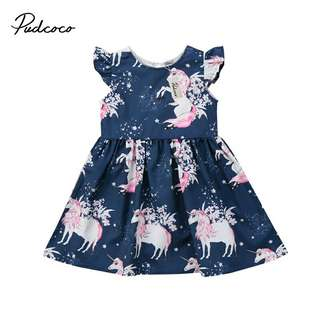 Emmababy 1-6T Chidren baby girl dress Girls Kid floral Unicorn printed Casual Dresses Clothes fashion bebe dress girl