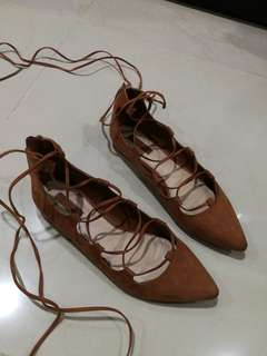 Forever 21 women suede tie flats