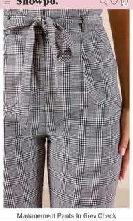 Showpo High Waist Check 'Management' Pants Sz 8-10 (Small)