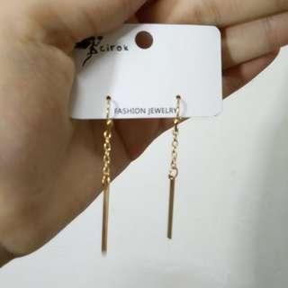 金色長鏈耳環 簡約 耳勾