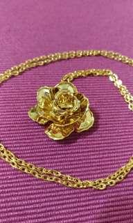 古董飾品 歐洲帶回 玫瑰金色項鍊 長鍊