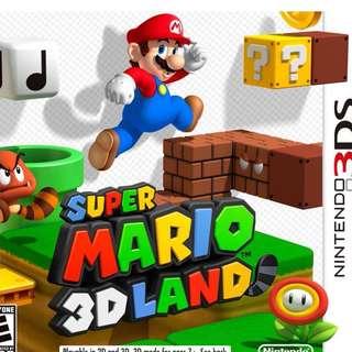 Nintendo 3DS Game Super Mario 3D Land (Mint Condition)