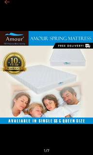 (Fast free door delivery) Single/Super Single/ Queen Amour Brand Spring Mattress