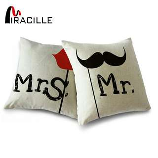 2 Pieces Cotton Linen MR & MRS Wedding Couple Cushion Cover Lovers Decor Home sofa Throw Pillowcase Square 18 Inches