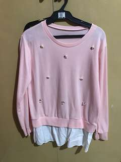 Pink Pearl Studded Pullover Sweater