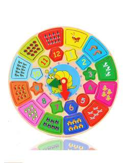 Wooden Clock Educational alphabets and numbers Puzzles Teaching Aids Toy Set