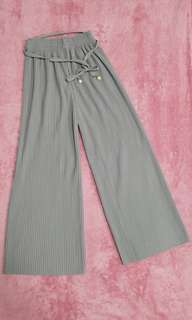 Gray Pleated Palazzo Pants with Belt from Thailand