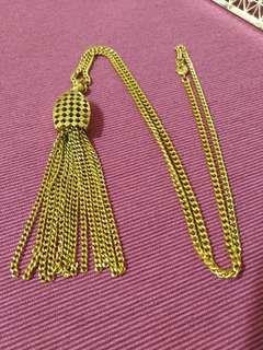 古董飾品 歐洲帶回 金色流蘇長項鍊