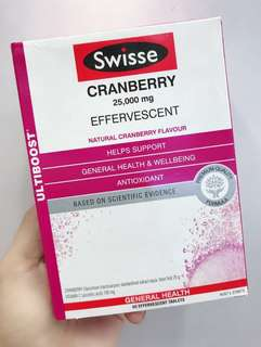 SWISSE 蔓越莓泡騰片 CRANBERRY 25000MG EFFERVESCENT 60片