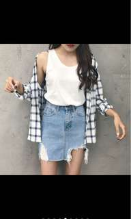 [po]High waist Denim skirt
