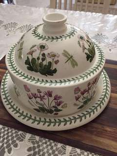 Portmeirion Botanic Garden Christmas Rose Cheese Dome With Plate