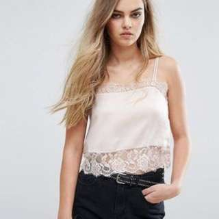 Pull & Bear Pink Cami Top with Lace Details