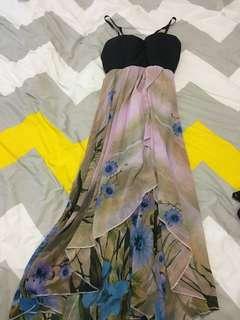 Ketchup maxi dress size 8 floral asymmetrical hemline