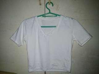 Plain White V-neck Crop top