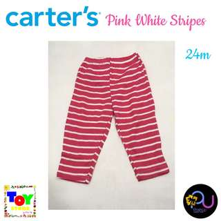 Carter's Pants Pink White Stripes 24m